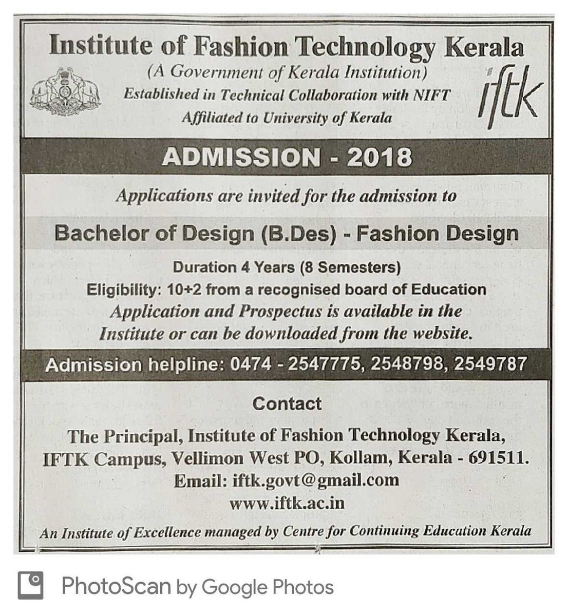 Just Get Mbbs On Twitter Admission To B Des Fashion Technology At Institute Of Fashion Technology Kerala