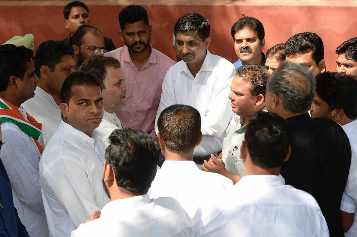 Congress President @RahulGandhi meets party workers at AICC HQ, New Delhi.