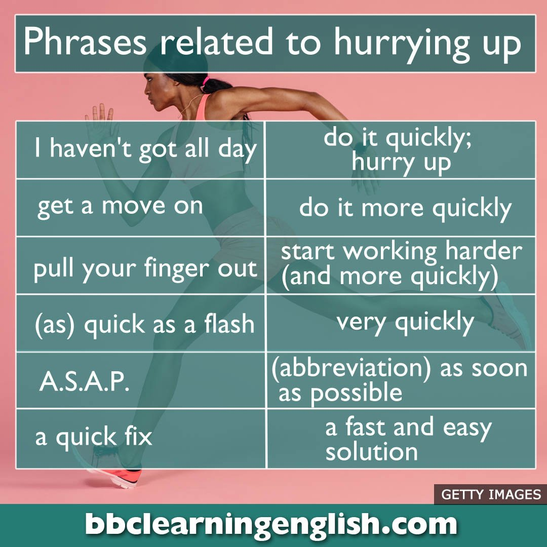 In a rush? Here's a few phrases about hurrying up to learn. Do you know any others? #learnenglish #vocab
