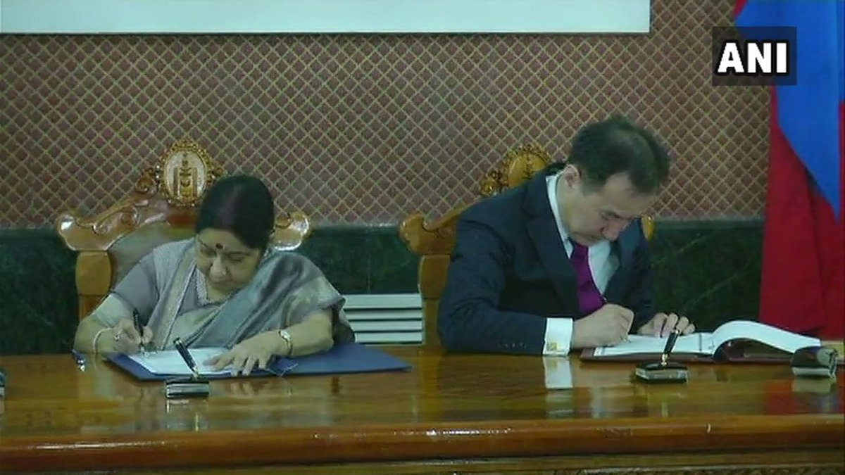 Ulaanbaatar: Signing of agreements between India and Mongolia(EAM Sushma Swaraj and Foreign Minister of Mongolia Damdin Tsogtbaatar)