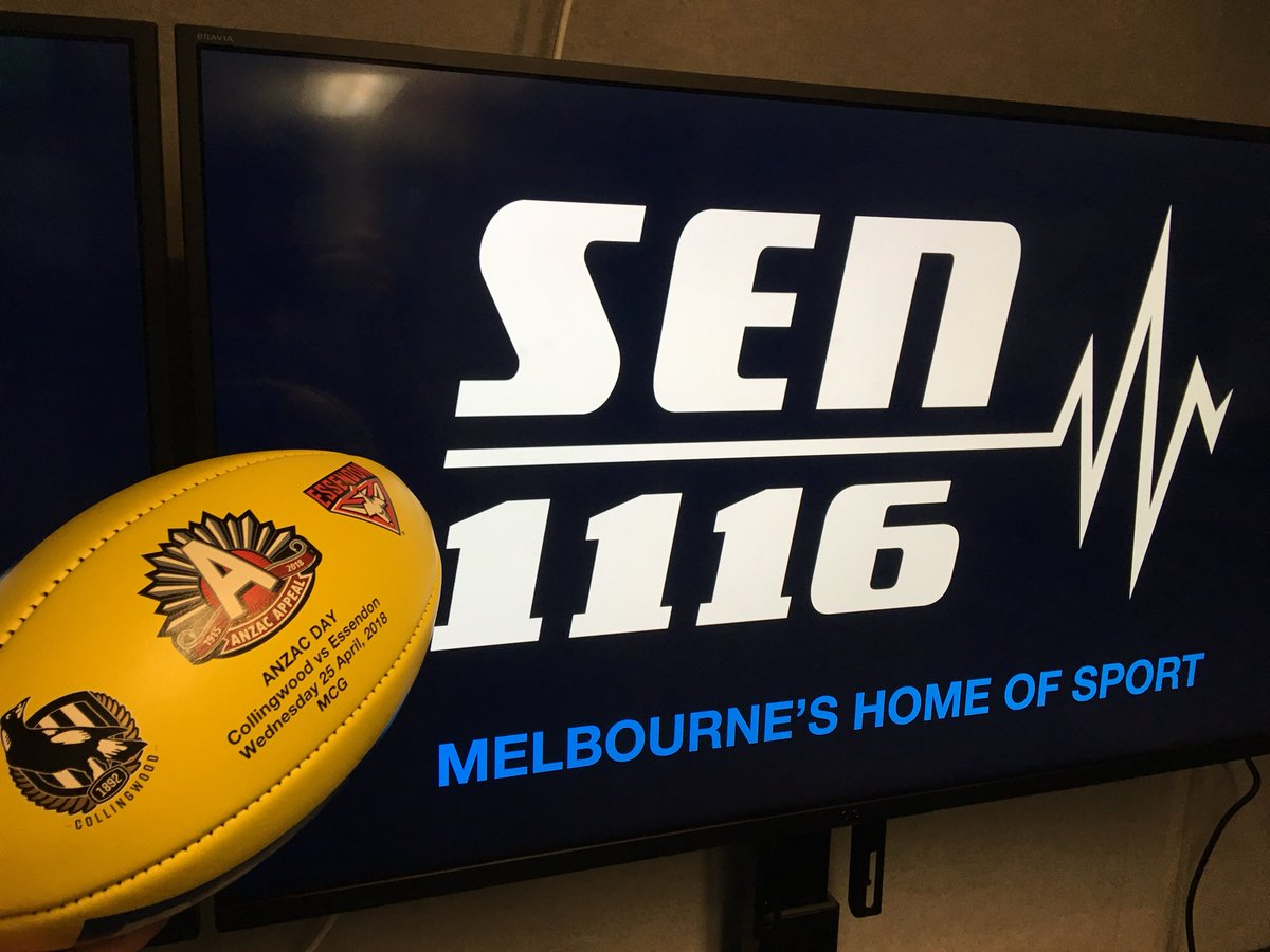 It's time for ANZAC Day footy on SEN! Tune in to hear our @SENfooty call of  #AFLPiesDonswith ,@GerardWhateley Peter Donegan, ,@SpudSays  @NickDalSantoand .@abbeycholmes
