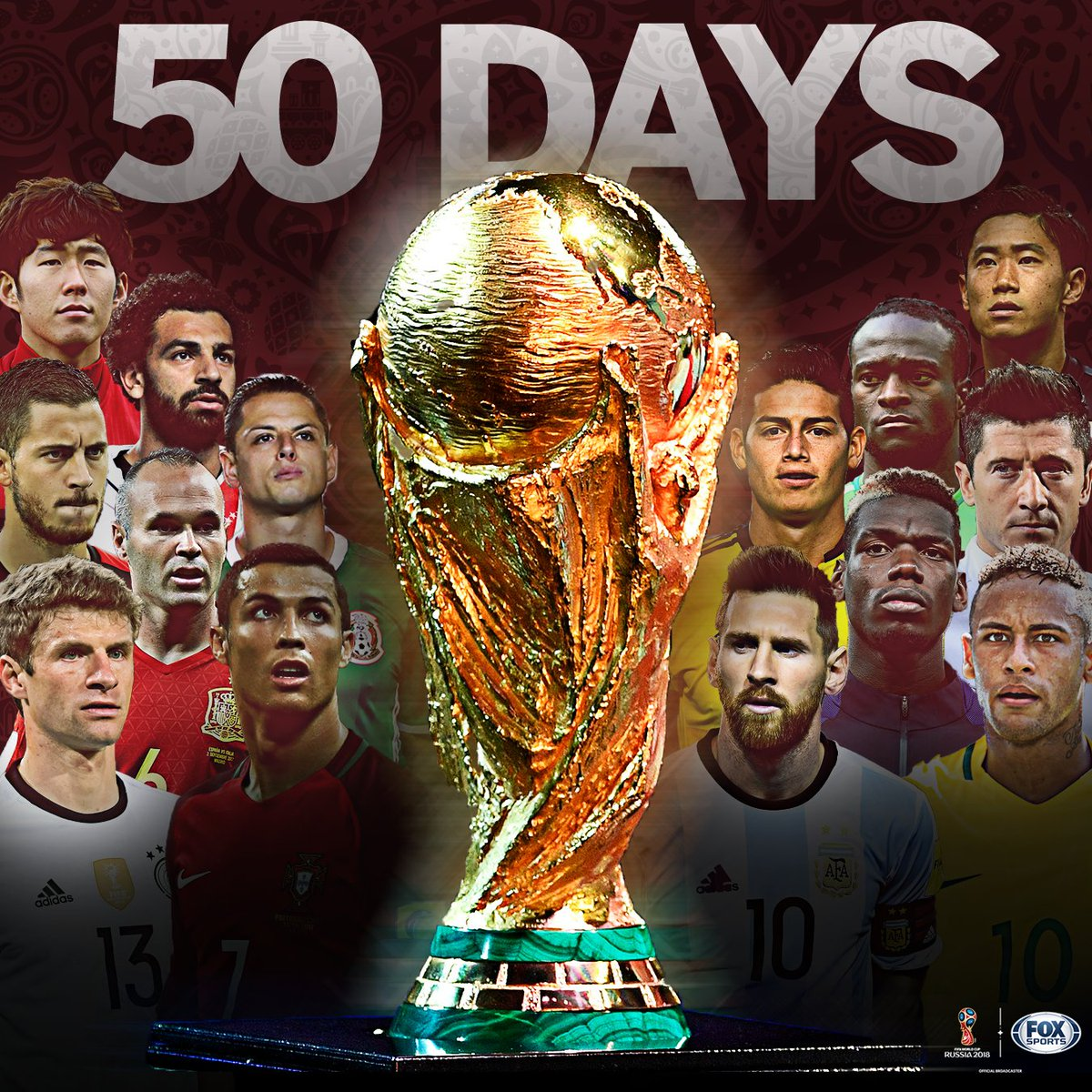 The 2018 FIFA World Cup is ONLY 5️⃣0️⃣ DAYS AWAY!