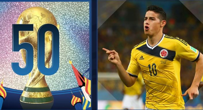 The countdown is ON! 🙌🎉  5⃣0⃣ days until the World Cup starts!   We're counting down to the big day with 50 iconic WC moments, starting with this beauty from James Rodriguez.  🎥👉 https://t.co/tWrEQGCHte