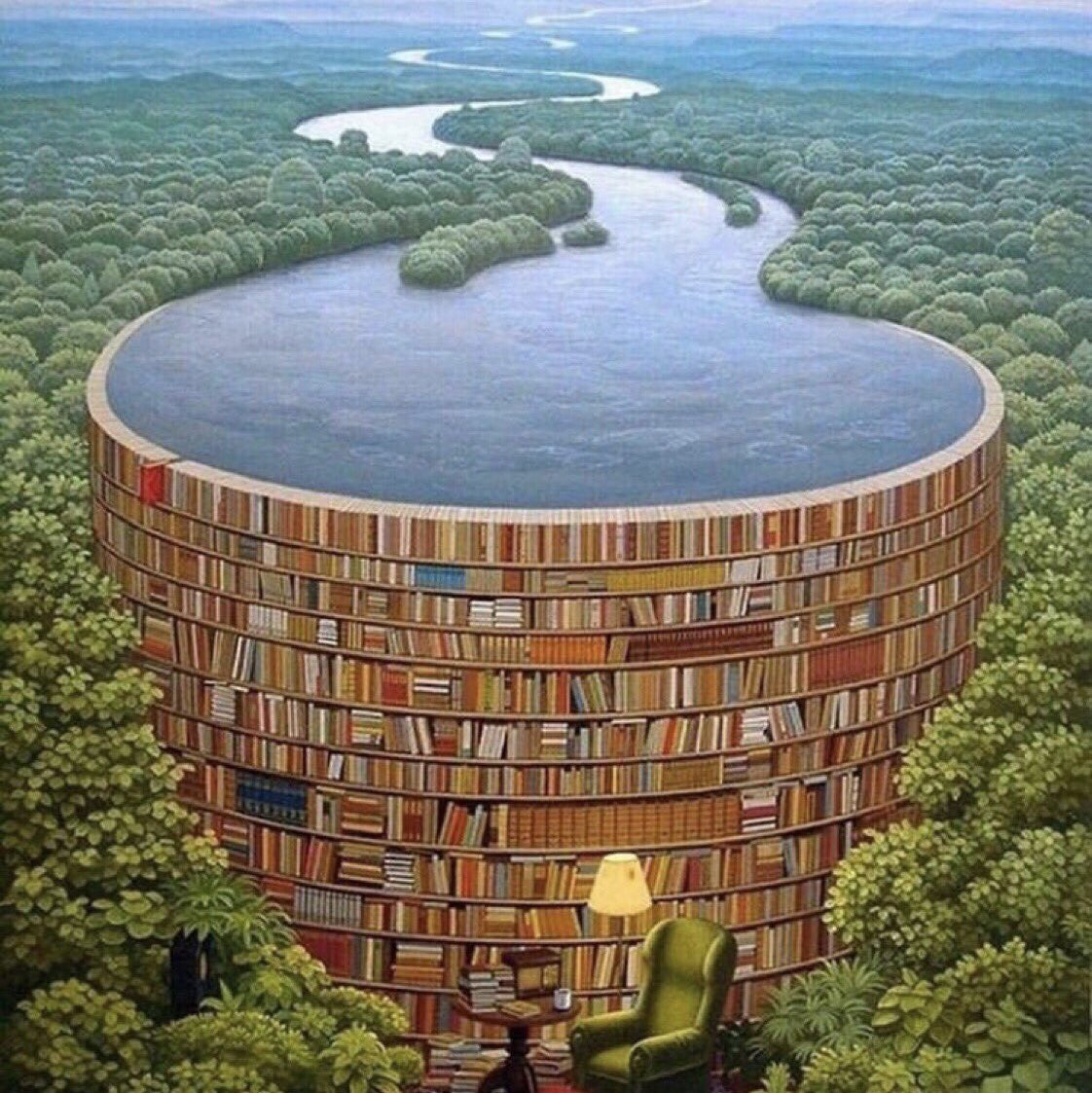 ❦Knowledge wasted is knowledge  lost.~Anne Scottlin #books #amreading #knowledge  #library #dam #PaintingByJacekYerka<br>http://pic.twitter.com/q6raFwiXp1