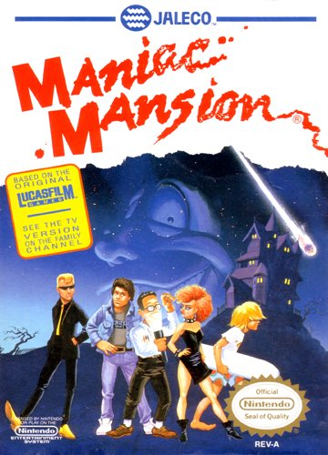 My pick for #wedNESday is circa 1990... The game was conceived in 1985 by @grumpygamer and Garry Winnick, who sought to tell a comedic story based on horror film and B-movie clichés... and is one of my faves... #ManiacMansion<br>http://pic.twitter.com/oDETDWtIsi