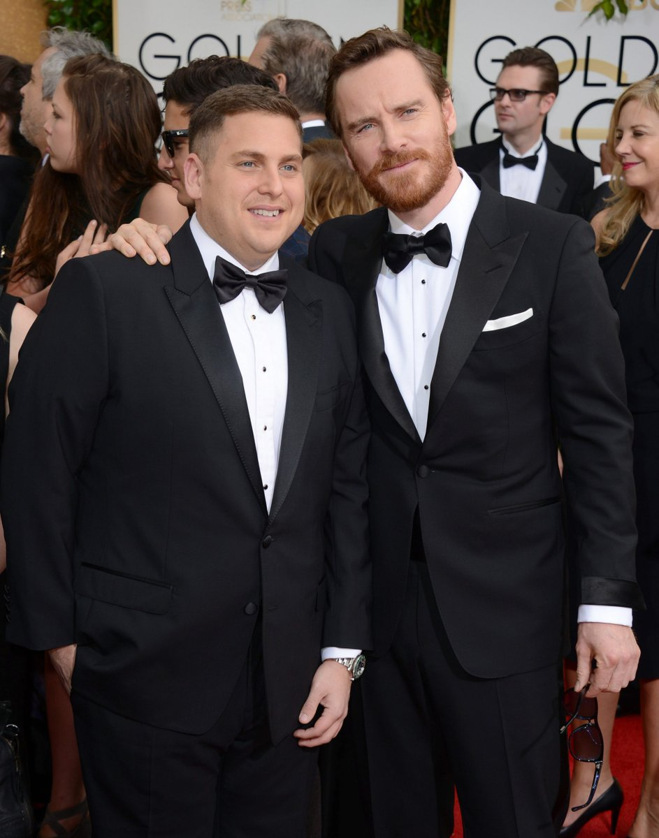 #MichaelFassbender and #JonahHill at the #GoldenGlobes 2014. Wow!  #Awards #12YearsASlave #Beard<br>http://pic.twitter.com/jBEvRAEaVe