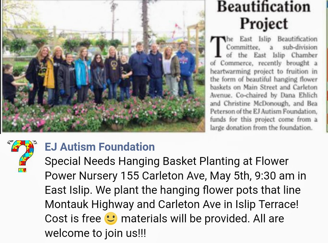 Do you & your child love gardening or just playing in the dirt? Join the EJ Autism Foundation on Saturday, May 5th at 9:30am to plant hanging flower baskets that will decorate the streets of Islip Terrace! #ejautismfoundation @OSchool4 @djkink32pic.twitter.com/eAIhOvtdOt