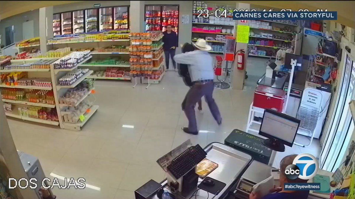 Cowboy tackles robbery suspect during holdup in Mexican butcher shop https://t.co/qUDmm9HWPK