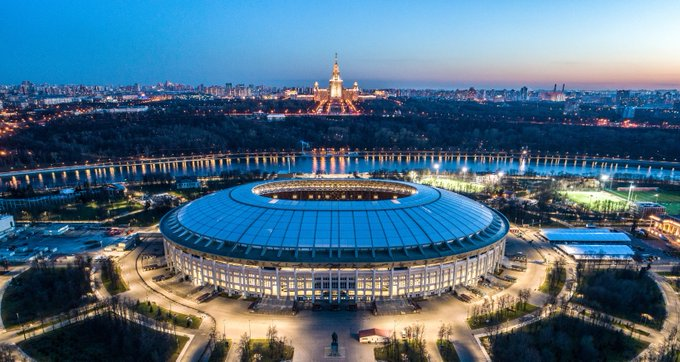 An aerial view of the Luzhniki Stadium in Moscow