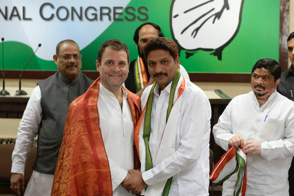 Prominent Telangana leaders including former BJP Minister Dr Nagam Janardhan Reddy and Surya Kiran joined the party in the presence of Congress President @OfficeOfRG today.