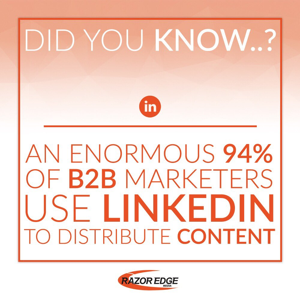 Did you know... 94% of B2B marketers use LinkedIn to distribute content?  http://www. razoredge-media.co.uk  &nbsp;   #b2b #marketing #marketers #b2bmarketing #LinkedIn #LinkedInAds #socialmedia #socialmediaconsultant #socialmediatraining #learnsocialmedia #learnseo #paidads #digitalagency #webagency<br>http://pic.twitter.com/vUekCDVThP