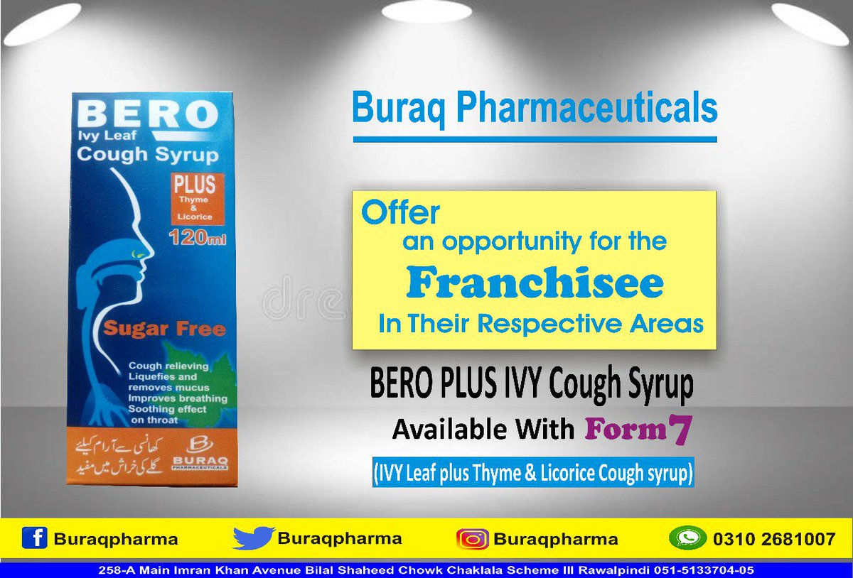 Buraq Pharmaceuticals Offering District Level #Franchise #Opportunity! Products Name  BERO PLUS IVY Cough Syrup  With Form 7 (IVY Leaf plus Thyme &amp; Licorice #Cough #syrup)  For More Details Please Contact 051-5133704-5 Mr Zafar Iqbal 0300-5201507  WhatsApp Inquiry 0310-2681007<br>http://pic.twitter.com/svU5nPFT8q