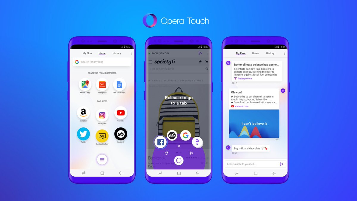 Opera Touch is a new Android browser tailored for one-handed use https://t.co/0M1UhURkFj
