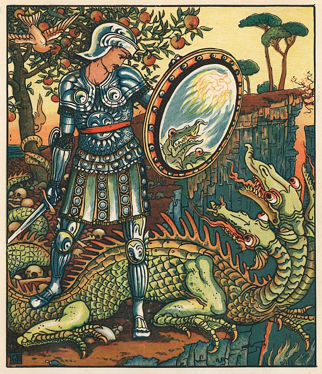 Saint George and the Dragon (I assume), as illustrated by Walter Crane (1845-1915), English artist &amp; book illustrator. #myth #Legends<br>http://pic.twitter.com/u6RzuHl24B