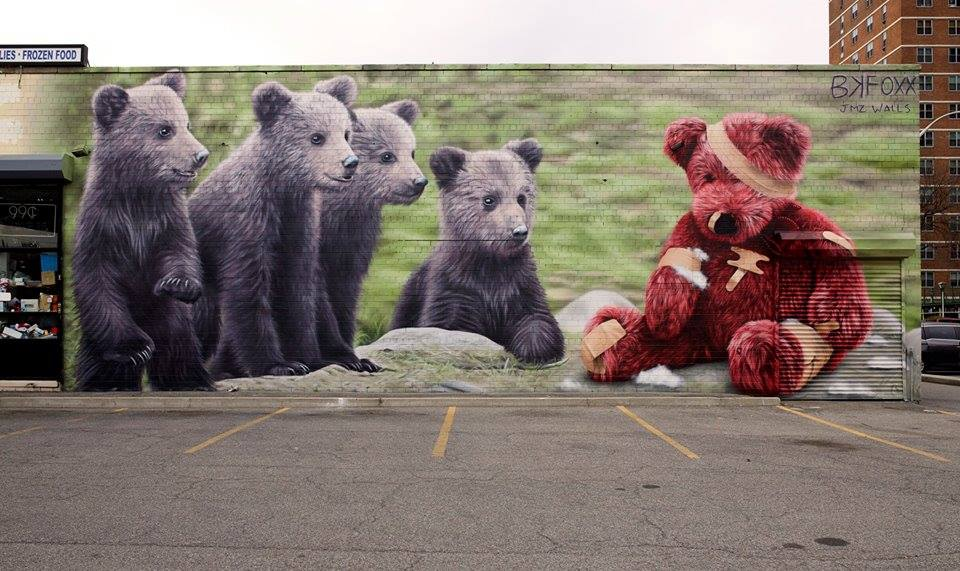 ... me and my best friend. Art by BKFoxx in Brooklyn #StreetArt #Art #Friendship #Bear #Lightness #Graffiti #Mural #Brooklyn #NewYorkCity<br>http://pic.twitter.com/1B56bHNS5l