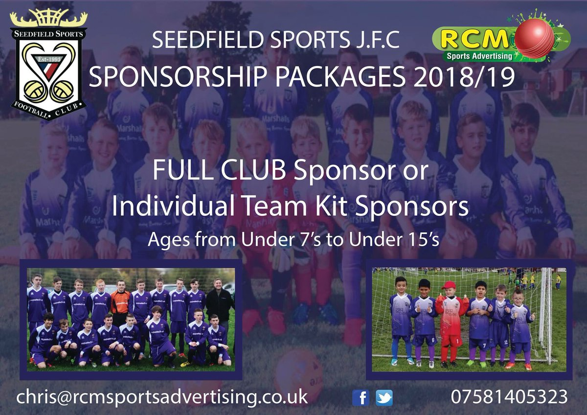 Become part of @SeedfieldJFC for the 2018/19 season.  Contact chris@rcmsportsadvertising.co.uk for full details of packages   #buryhour #northwesthour #sponsorship #advertising #branding<br>http://pic.twitter.com/YRAEcCYZ8K
