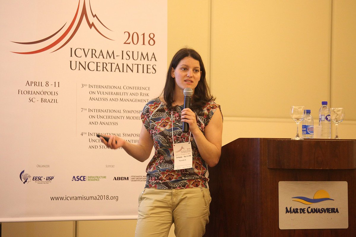 #ICVRAM-ISUMA: Conference on #uncertainty analysis and #riskmanagement in Brazil. One of our #PhD #researcher, Barbara Heitner, presented her paper on Multi-step #Bayesian Updating of #corrision #propagation in Reinforced Concrete #structures.  https://www. linkedin.com/feed/update/ur n:li:activity:6394849796724715520 &nbsp; …   @TRUSSITN<br>http://pic.twitter.com/bITN1sp9BA