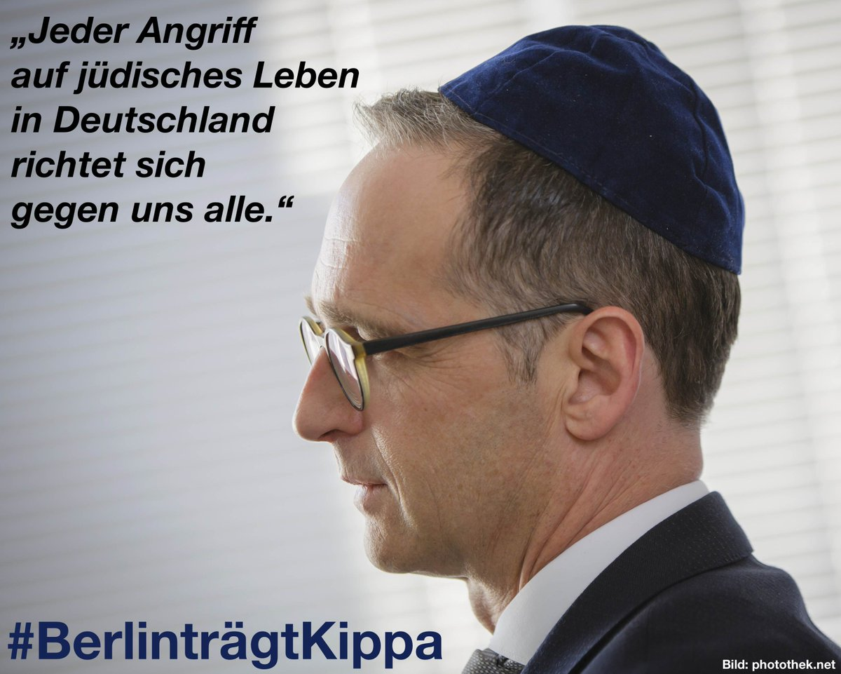 Avi Mayer On Twitter German Foreign Minister Heiko Maas Tweets A Photo Of Himself In A Kippah With Text Reading Every Attack On Jewish Life In Germany Is Directed Against Us All