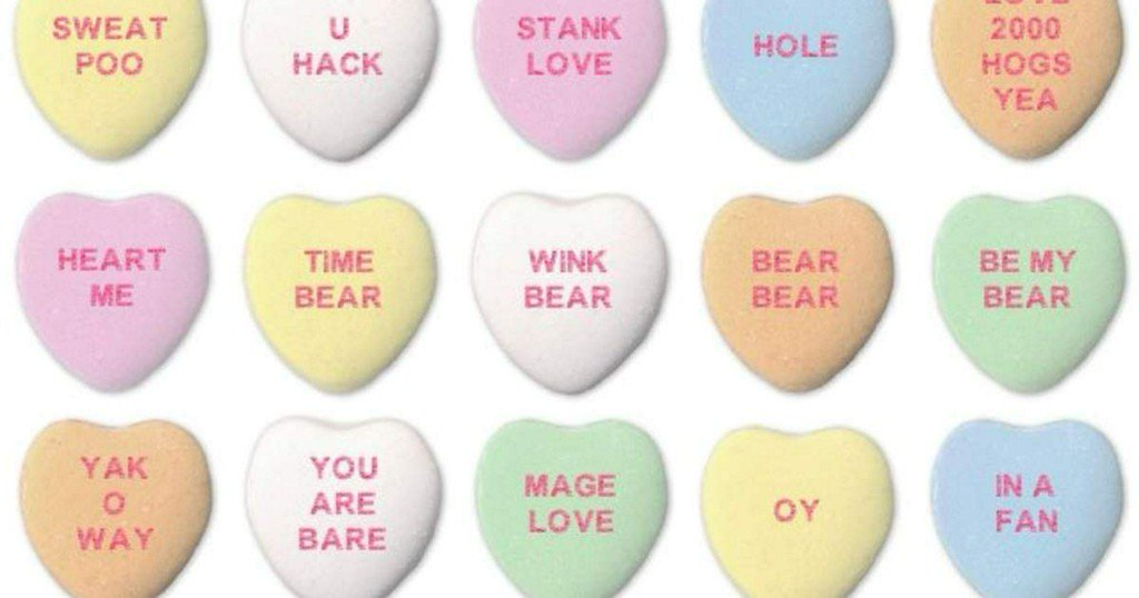 STANK LOVE, BEAR WIG, and other sayings from AI-generated candy hearts https://t.co/pT3n6VRaqq