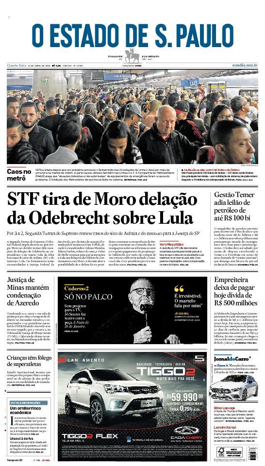 CAPA: STF tira de Moro delação da Odebrecht sobre Lula. Veja mais: https://t.co/OY0hXUI30X #estadao