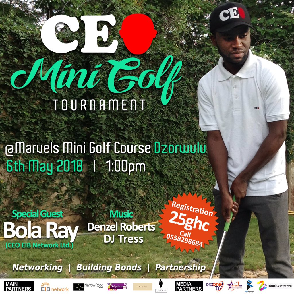 We are glad to announce our first event! The #CEO Mini Golf Tournament. If you are a young entrepreneur out there or maybe you&#39;ve got dreams of starting something, come let&#39;s share ideas. It&#39;s our time to shine! Kindly RT <br>http://pic.twitter.com/CgMbyS7yXb