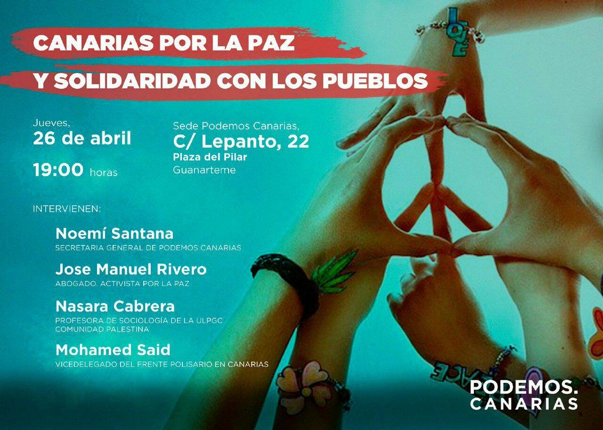 Mañana a las 19:00h nos vemos en la charla 'Canarias por la paz y solidaridad con los pueblos' ☮