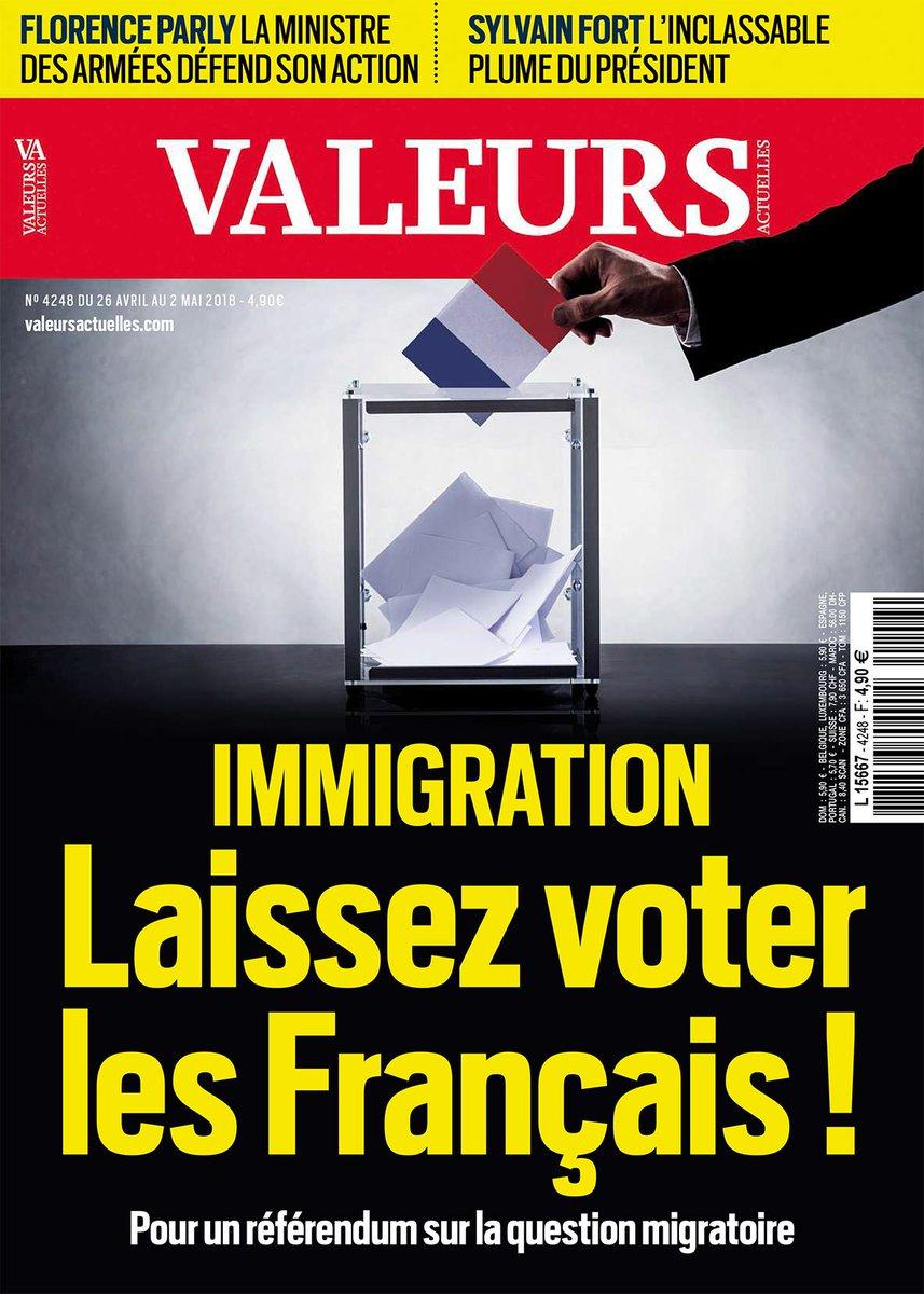 Cette semaine dans Valeurs actuelles : immigration, laissez voter les Français ! >> https://t.co/wjclC6Qeba