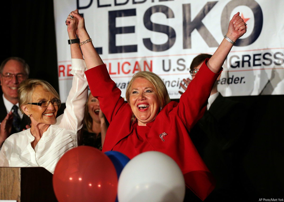 Republican U.S. Congressional candidate Debbie Lesko celebrates with former Arizona Gov. Jan Brewer after winning the special election for a U.S. House seat in Arizona to replace former Rep. Trent Franks, who resigned over sexual misconduct allegations. https://t.co/D3s13u4gg7