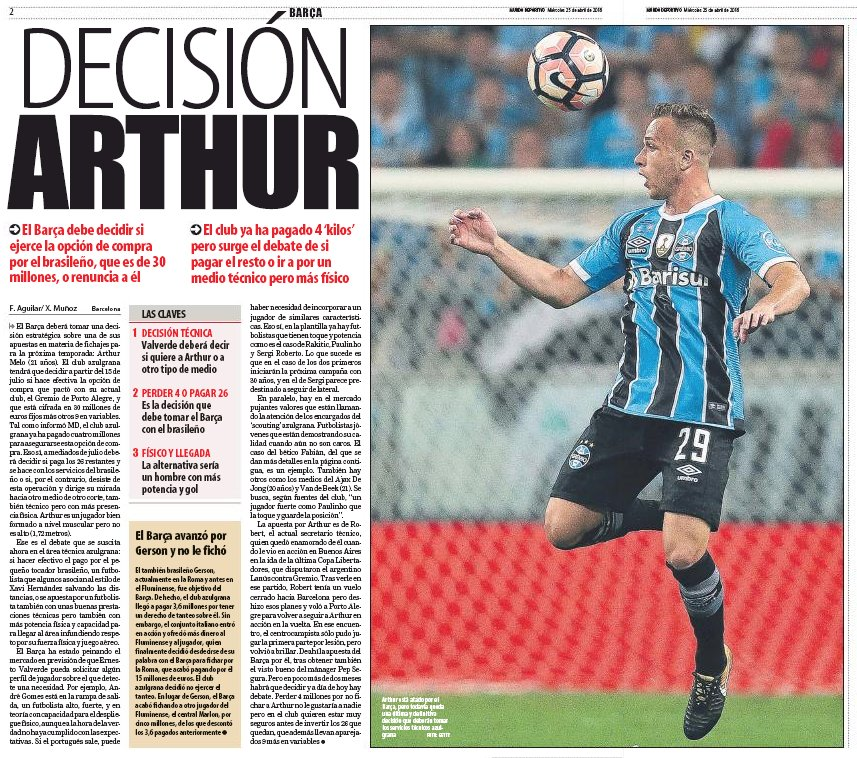 Barcelona currently making decision on €39m signing, say Mundo Deportivo, have already paid €4m deposit.  There&#39;s a chance they could pull out and lose that €4m.      http:// sportwitness.co.uk/arthur-barcelo na/ &nbsp; …  #fcblive #Grêmio <br>http://pic.twitter.com/h6FlMnlSUX