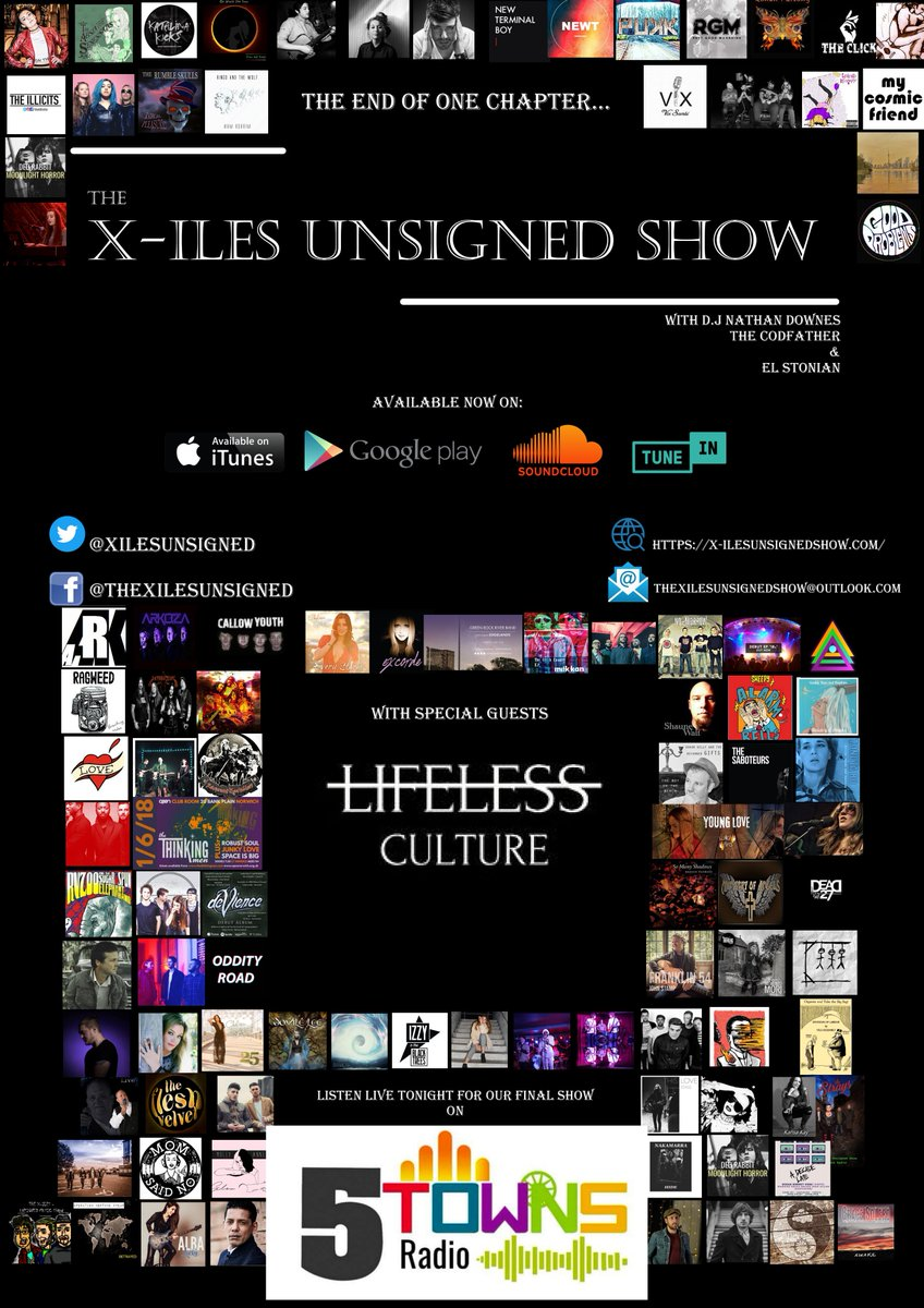 #TuneIn #tonight #WednesdayMotivation &amp; #wednesdaythoughts @XilesUnsigned #LIVE for the #lasttime on @5TownsRadio with special guests @LifelessCulture #recapping the last 13 weeks of #thebest #unsignedmusic from all over the world! this is not the last X-iles though!<br>http://pic.twitter.com/Fs1VrnSeaL