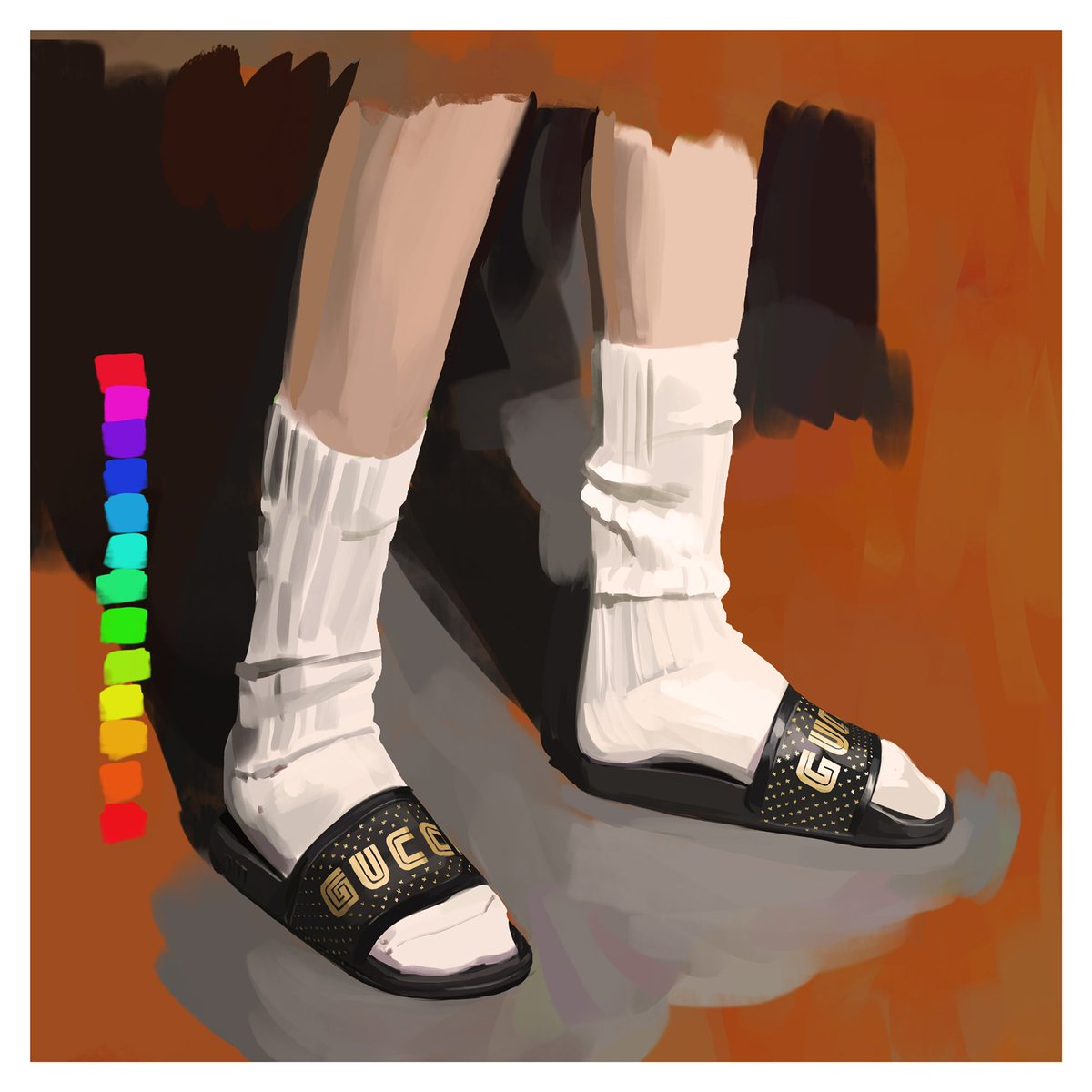 ede424e0b84 The new men s slide sandals from  GucciSS18 featuring the  Guccy print in   SEGA s logo font appear in an artwork by  IgnasiMonreal.