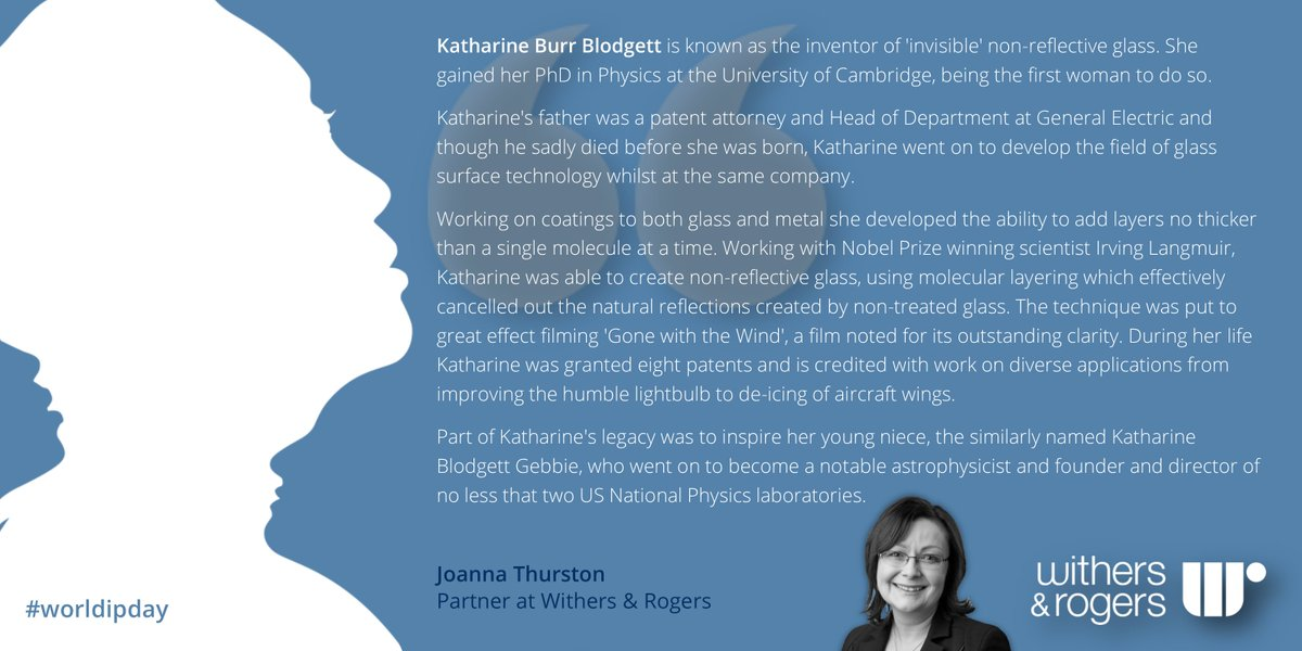 Dr Joanna Thurston Partner In Our Sheffield Office Is Highlighting The Work Of Katharine Burr Blodgett Inventor Invisible Non Reflective
