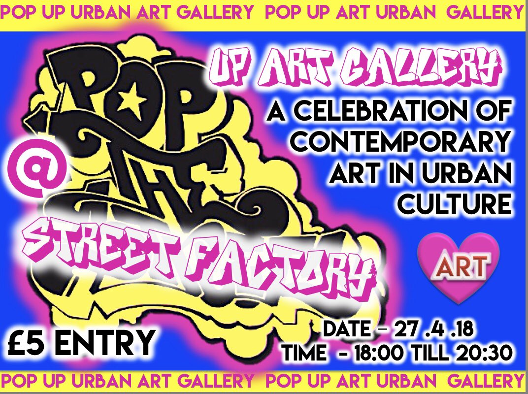 HI GUYS THIS FRIDAY IS A POP-UP ART GALLERY @ STREET FACTORY Showcasing Local Art #Talent A fantastic event for the whole family - Sharing #Arts&amp;Culture  Come &amp; Be INSPIRED  #KidsFreeEntry Do you want some new art work for your #Home #Business  (4-8 Sawery street Millbay Pl13LA)<br>http://pic.twitter.com/V6bnZshgzo