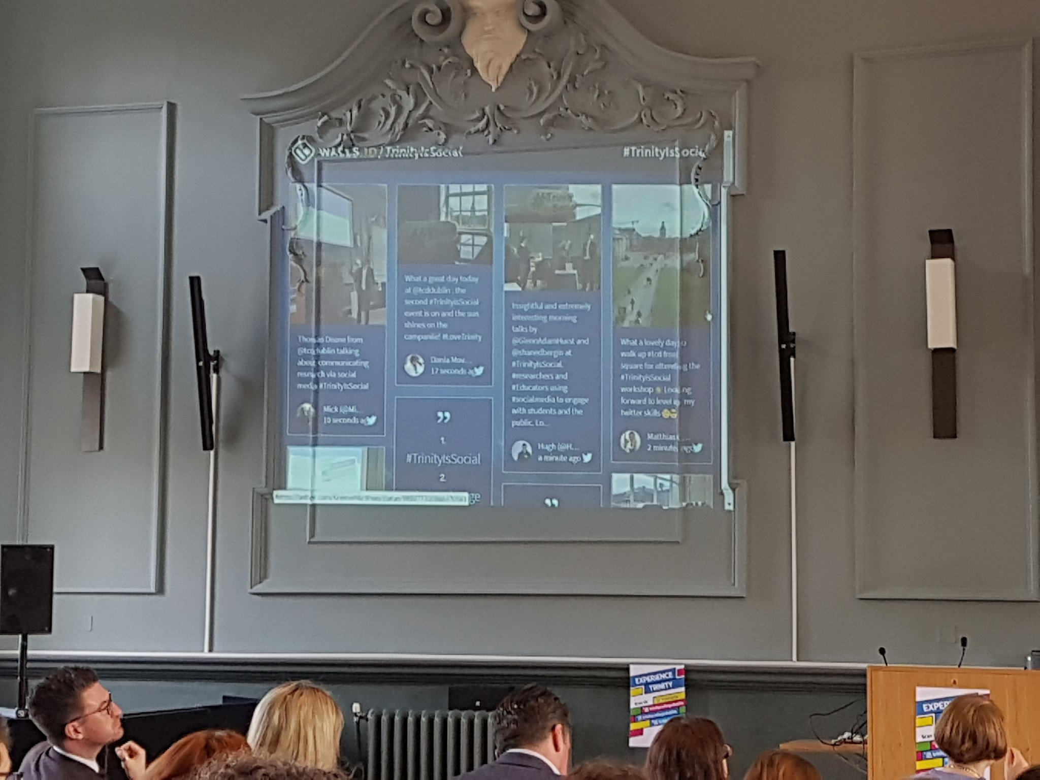 Our awesome #TrinityIsSocial twitter wall....no wonder we're trending.....again! https://t.co/ptm205dWt0