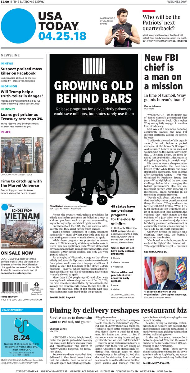 On today's #frontpage: Inmate release programs for sick, elderly could save millions, but states rarely use them; FBI chief Christopher Wray guards bureau's 'brand' in time of turmoil