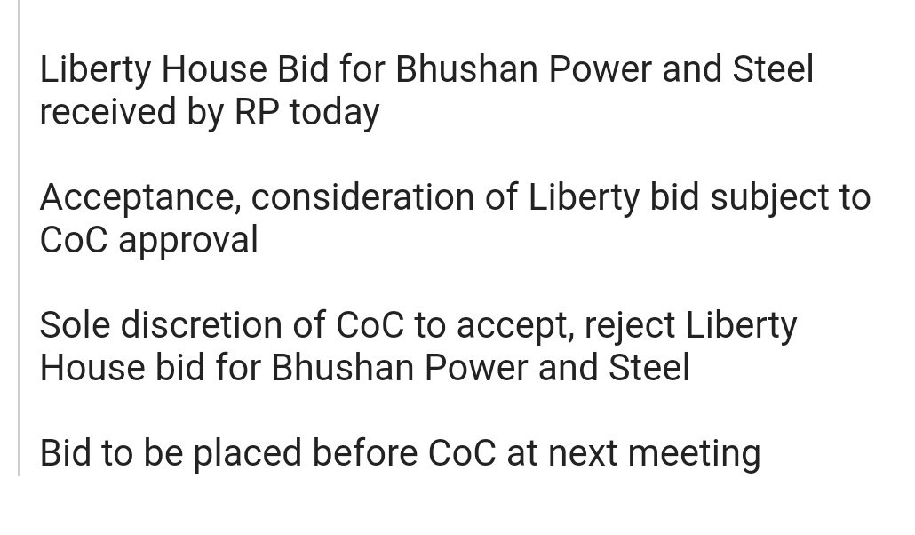 #Exclusive Sources: Bhushan Power RP acknowledges receiving Liberty House Bid.  BTVI Alert: Tata Steel frontrunner forBhushan Power & Steelwith Rs 24500 cr bid  BTVI Alert: Bhushan Power & Steel owes Rs 45,000 cr to lenders