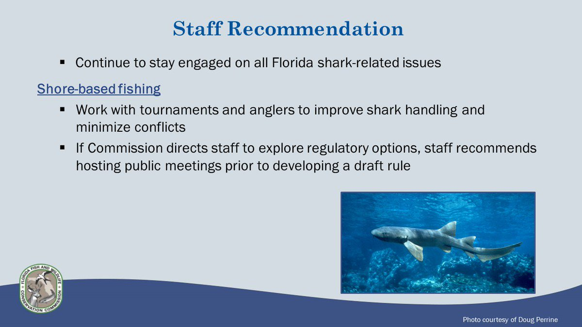 We will continue to stay engaged on all shark-related issues and pursue draft regulations for shore-based #shark fishing. #FWC2018<br>http://pic.twitter.com/LJSD3DI7cN