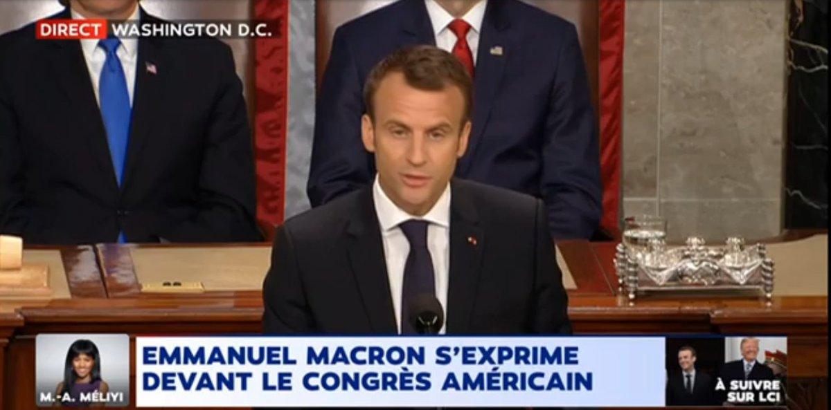 'Nous avons besoin d'échanges commerciaux équitables et libres. Une guerre commerciale qui opposerait des alliés ne serait pas cohérente'  @EmmanuelMacron devant le Congrès Américain >>  … https://t.co/qJij0YzxvV#MacronTrump