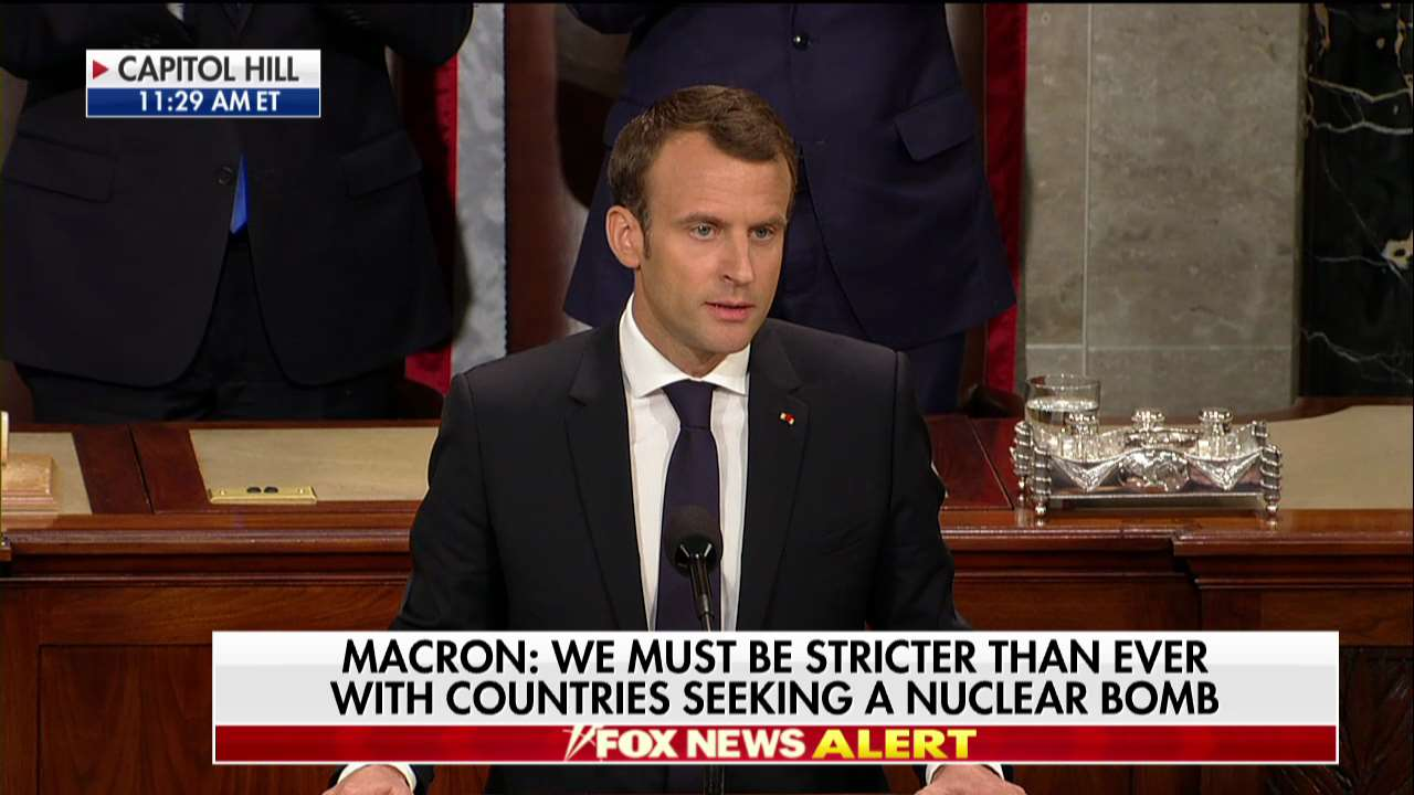.@EmmanuelMacron: 'Iran shall never possess any nuclear weapons. Not now. Not in 5 years. Not in 10 years. Never.' https://t.co/scFSz3pTTQ