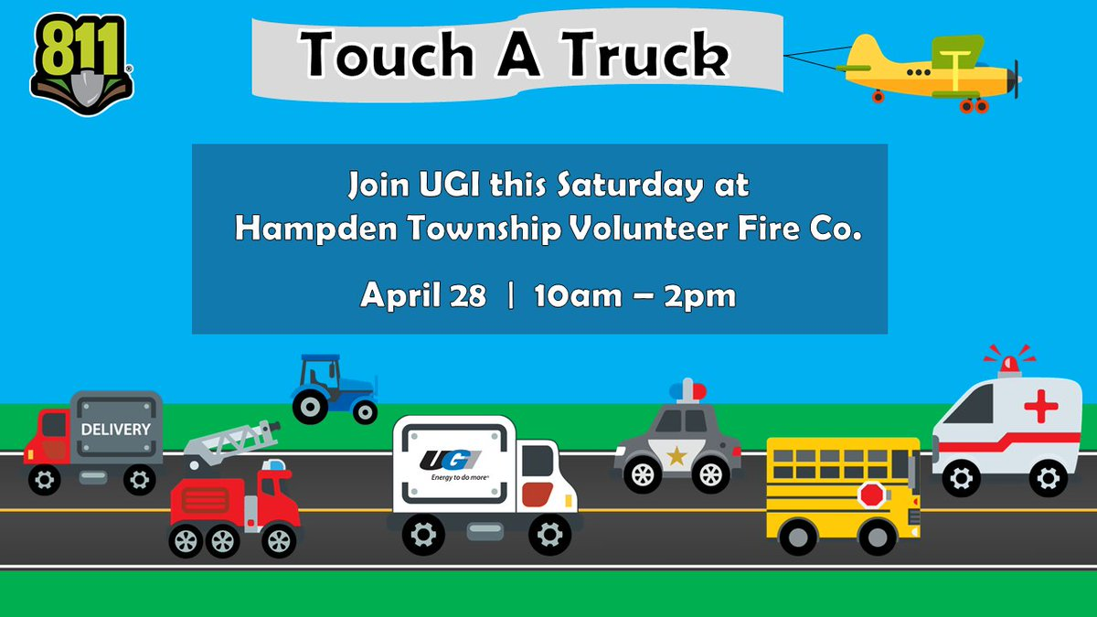 test Twitter Media - Join UGI this weekend at Touch A Truck at Hampden Township Volunteer Fire Co. We'll be there to show you around our trucks and celebrate National Safe Digging Month! #Call811 https://t.co/fjTNQJ37Bs