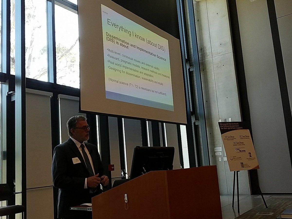 @RussGlasgow key issues in #DISCIENCE context, pragmatism,  adaptation, &amp; sustainment @borsika21 #DISummit2018 #ImpSci @IRIfellowship @NCI_ImplSci @UCSDHealth @UCSD<br>http://pic.twitter.com/cRFRxmsq8Q &ndash; à Medical Education and Telemedicine Building