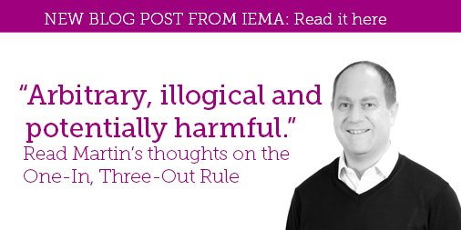 &quot;Arbitrary, illogical and potentially harmful.&quot; Read @mbaxteriema&#39;s new blog right here, and find out what IEMA&#39;s Chief Policy Advisor thinks of the One-In, Three Out Rule.  http:// ow.ly/g2mF30jFQPH  &nbsp;    Let us know what you think in the comments section #policy #deregulation<br>http://pic.twitter.com/emNo6V65Se