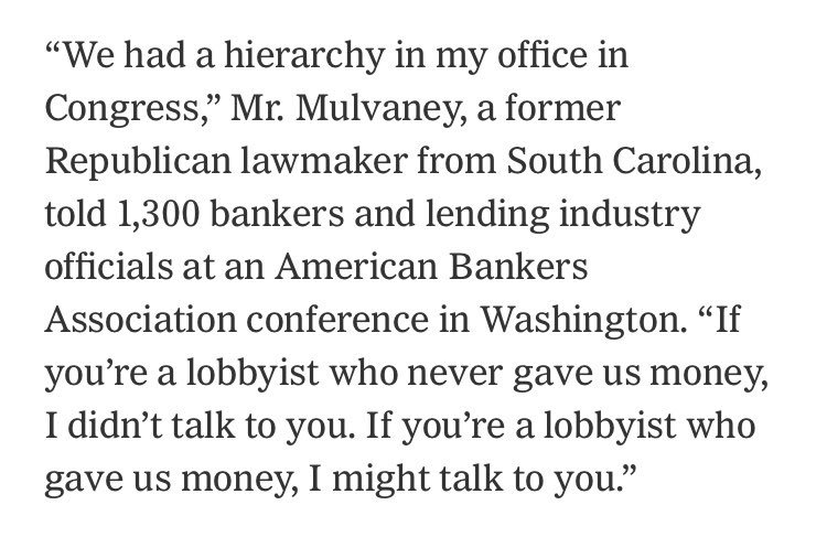 Mr. Mulvaney - you've made it clear that your congressional office was for sale. Does the @CFPB have a price tag too? -SB https://t.co/azgDHq4PJL