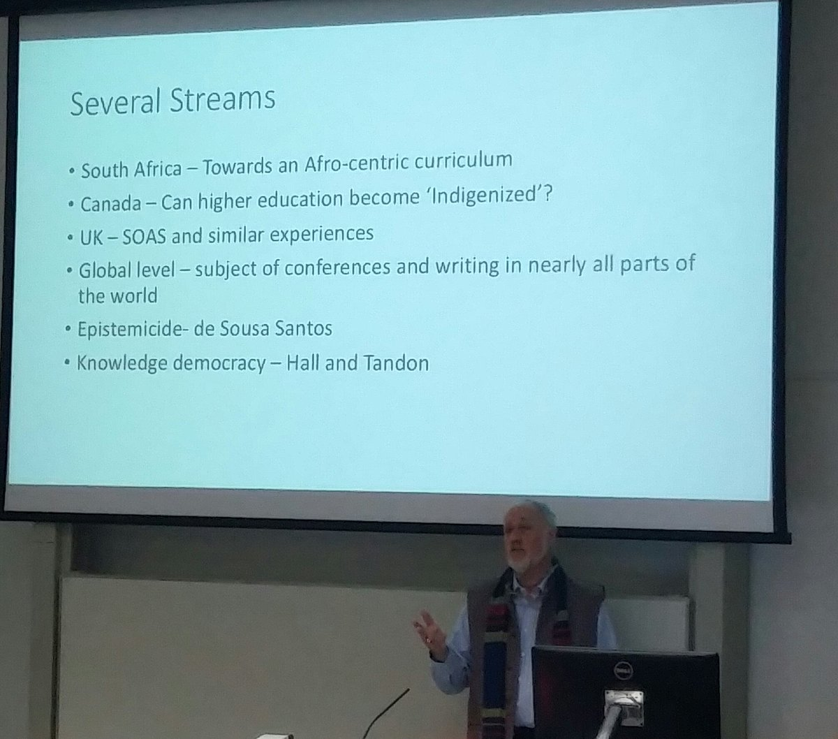 Listening to @buddhall in my old stomping ground @SOEBristol. He raises lots of questions: the policing role of academic disciplines; the interaction of #representation &amp; cognitive justice in #socialjustice; research approaches to facilitate decolonisation &amp; my position in this.<br>http://pic.twitter.com/8GwCt6cvIz