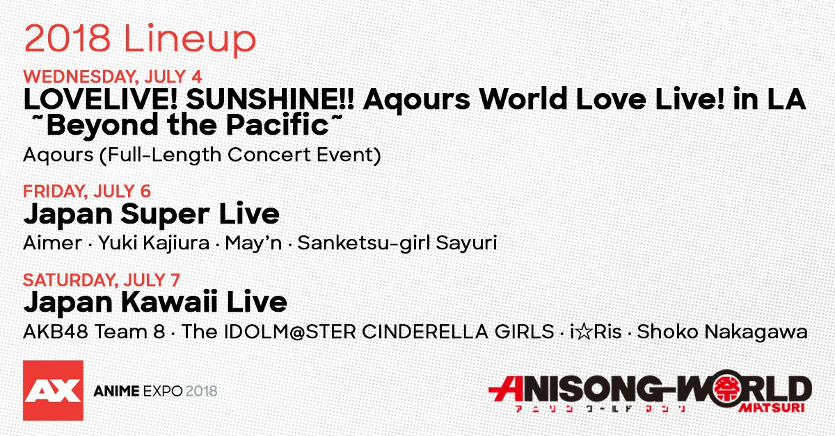 Anime Expo On Twitter Introducing The Line Up For AnisongWorld