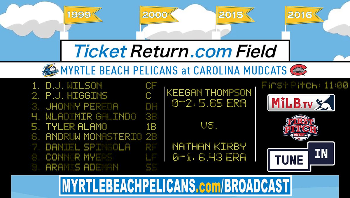 Myrtle Beach Pelicans On Twitter Good Morning We Are Going To Play This Here S The Lineup At