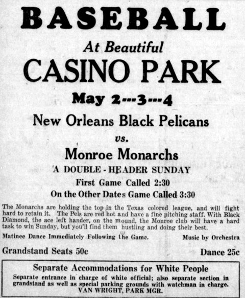 #Spotlight – Poster from a game between the Black Pelicans and Monroe Monarchs – Note the segregation message at the bottom -  http:// bit.ly/2HJjrei  &nbsp;  <br>http://pic.twitter.com/IBFaWgchzz