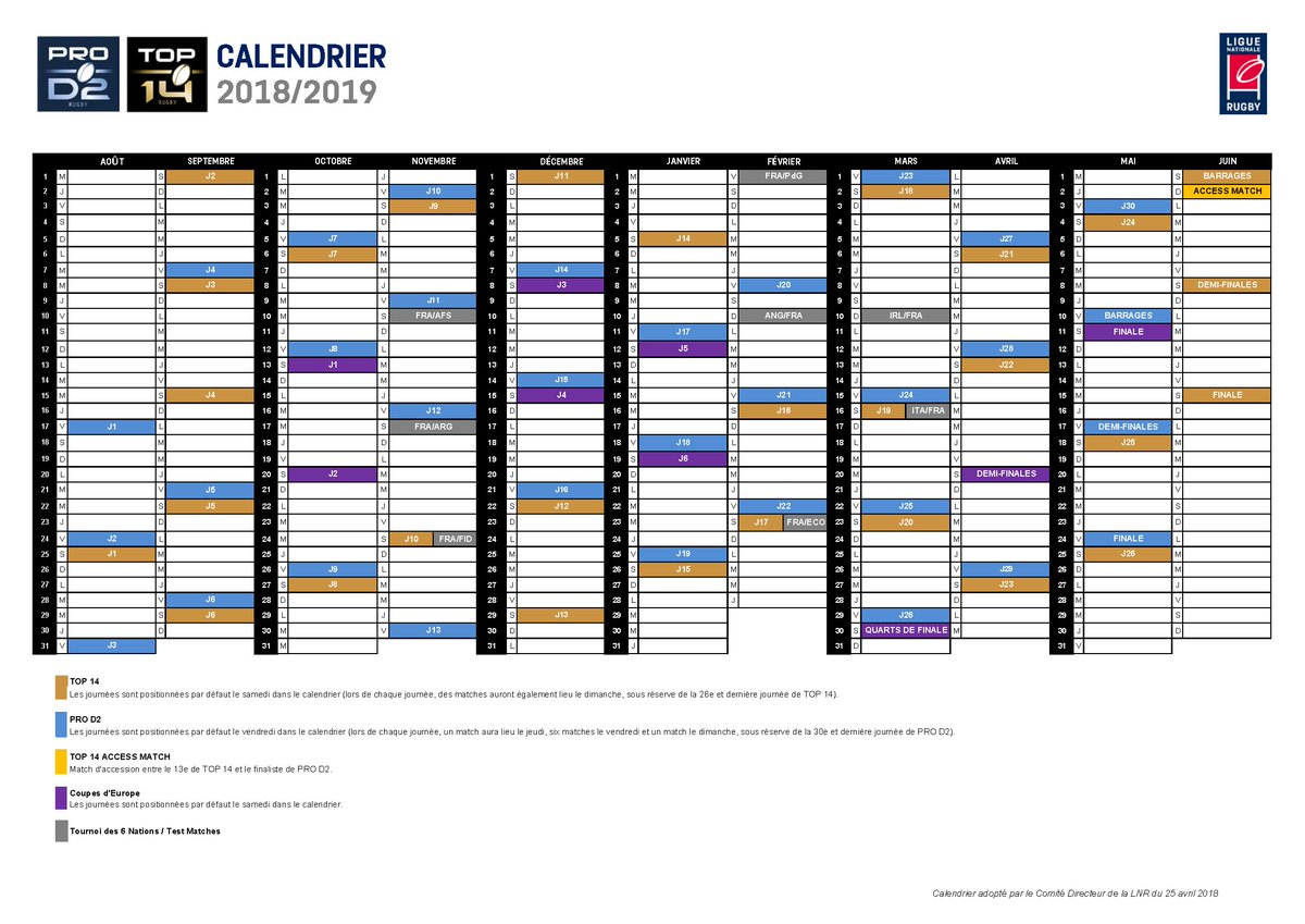 Calendrier 2019 Top 14.Ligue Nationale De Rugby On Twitter Comitedirecteur