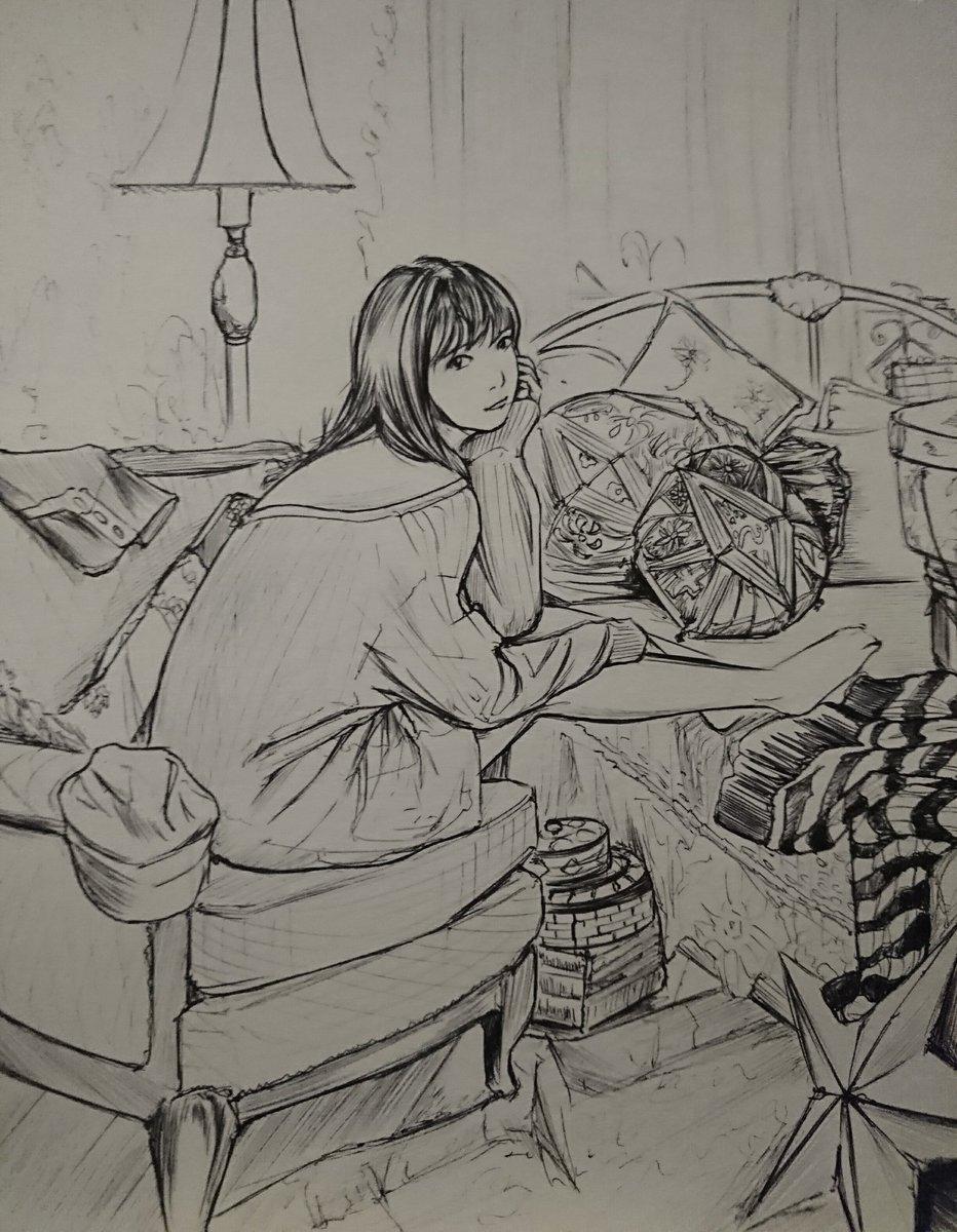 #佐々木希  さん #デッサン #アナログ絵 #一筆書き #ボールペン #二点透視図法 #drawing  室内やや俯瞰 二点パース。  背景の質感の練習。