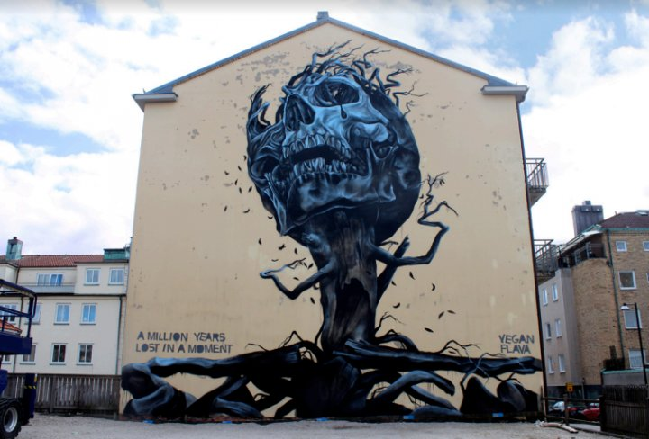 &quot;A milion years lost in a moment&quot;... art and symbolism by Vegan Flava in Pressigny-les-Pins, France #StreetArt #Art #Skull #Symbolism #Tree #Graffiti #Mural #PressignyLesPins #France<br>http://pic.twitter.com/zv2NMBEJBp